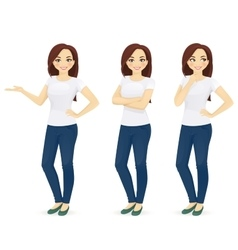 Woman in jeans vector