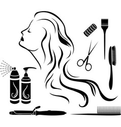 Set for hairdressers hairdressing vector