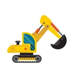 Yellow excavator special machinery vehicle loader vector
