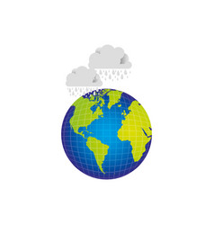 earth planet with clouds rainning icon vector image
