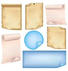 Set of paper isolated on white background vector image