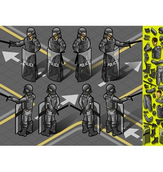 Isometric set of eight policemans standing vector