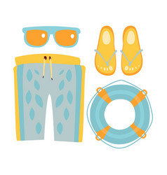Slippers shorts sun glasses and lifebuoy in vector