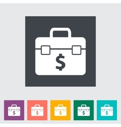 Briefcase flat single icon vector