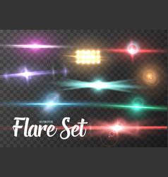Lens flare set realistic sun flare light effect vector