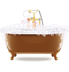 Bathtub with foam vector