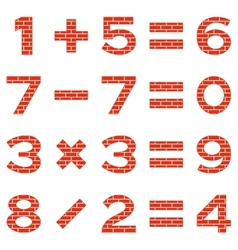 Numbers set brick vector