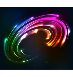 Rainbow colors shining neon lights twirl vector