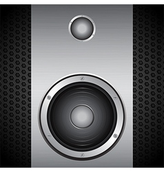 Big speaker on brushed metallic background vector