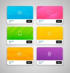 Colorful Gift Cards with prices vector image