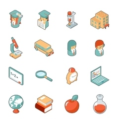 Education and school isometric 3d icons vector image