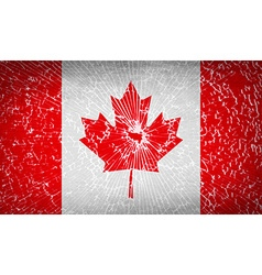 Flags canada with broken glass texture vector
