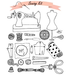 Sewing hand drawn kit vector