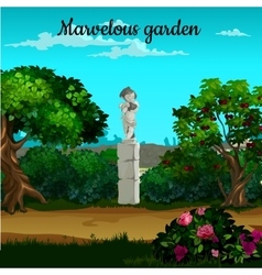 Magic garden with blooming trees and statue vector