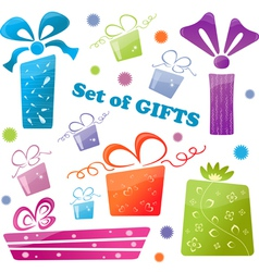 set of colorful gifts icons vector image
