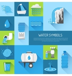 Water flat set vector
