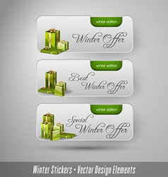 Business winter stickers with gifts design vector