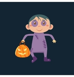 Boy in zombie haloween disguise vector