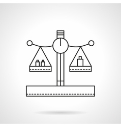 Balance with weights flat line icon vector