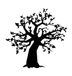 Black tree with leaves silhouette on white vector image vector image