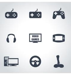 black video games icon set vector image vector image