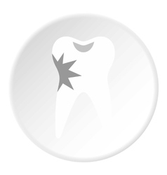 Carious tooth icon flat style vector image vector image