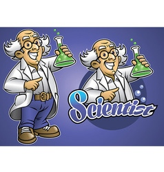 Cartoon of scientist wear the lab cloth vector