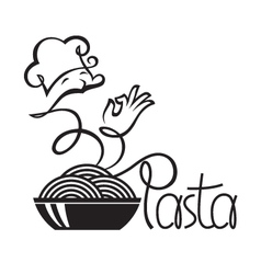 Chef icons with dish of pasta vector
