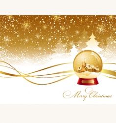 christmas landscape and snow globe vector image vector image