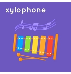 Colorful xylophone and notes vector