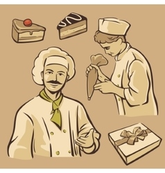 Cook and piece of Cake Set vintage symbols vector image vector image