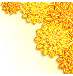decorative background with yellow orange 3d paper vector image