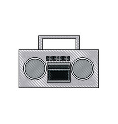 Drawing stereo radio music play retro vector