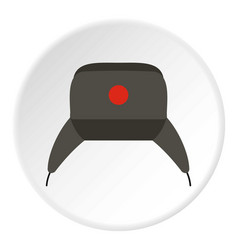 Earflap hat icon circle vector