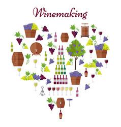 Elite winemaking poster in heart shape vector