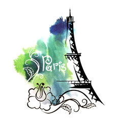 hand drawn sketch of the eiffel tower vector image vector image