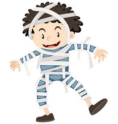 Happy boy dressed as mummy for halloween vector