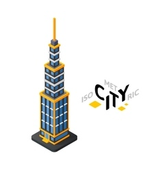 Isometric urban tower icon building city vector