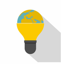 Light bulb and planet earth icon flat style vector