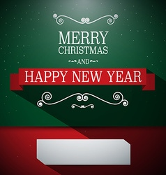 Merry Christmas Card Retro Green and Red wi vector image vector image