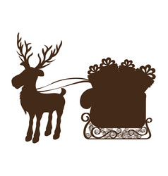 Monochrome silhouette of reindeer and sleigh with vector
