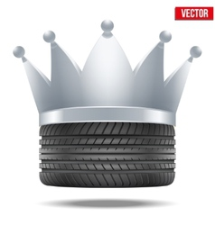 Realistic rubber tire with a silver crown vector