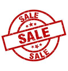 Sale round red grunge stamp vector