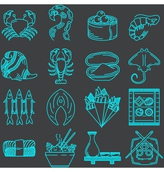 Seafood line icons collection vector image