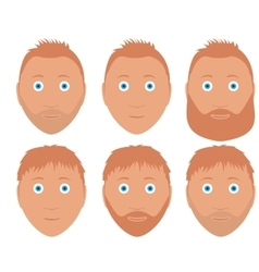 set of man faces with different hairstyle vector image vector image
