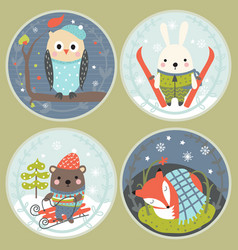 set of round cards with cute animals vector image