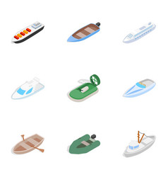 ship and boat icons isometric 3d style vector image