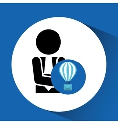 Silhouette man with email balloon bubble chat vector