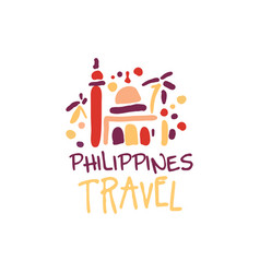 Travel to philippines logo with manila cathedral vector