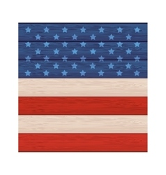 Wall wooden with american flag design vector